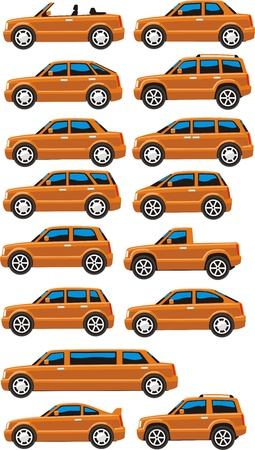 Set of cars in many trim Illustration