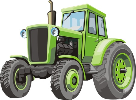 Old green tractor for agriculture works Illustration