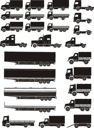cisterna: conjunto de camión y siluetas treiler