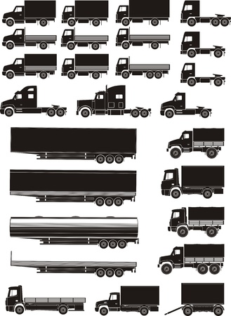 set of lorry and treiler silhouettes