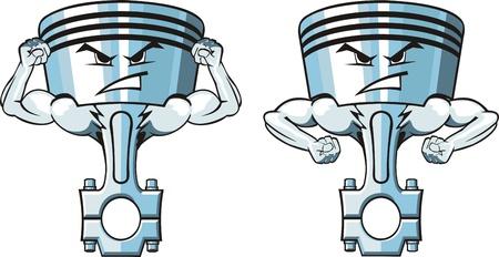 deux pistons dessin animé très fortes Vecteurs