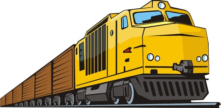 railway locomotive for cargo transportation Vector