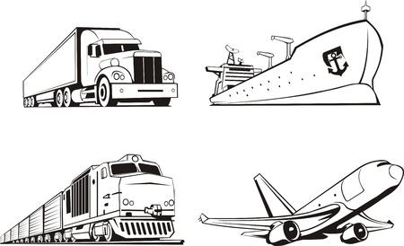 vervoer vracht door alle middelen van vervoer Stock Illustratie