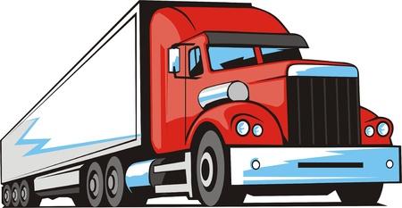 trailer truck: Heavy truck for a international cargo transportation