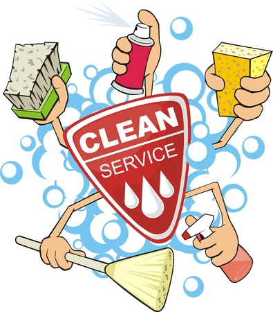 sponges: sign of the service of the cleaning the washer  Illustration