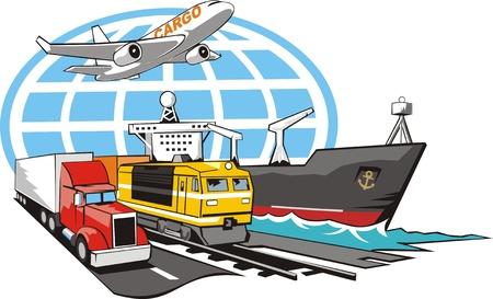 doprava: znamení dopravy nákladu na všechny typy přepravy Ilustrace