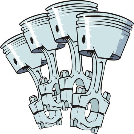 piezas coche: cuatro pistones de motores de combustión interna Vectores