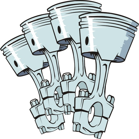 engine pistons: four pistons from engine of internal combustion Illustration