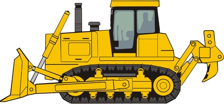 yellow tractor: la construcci�n de bulldozer en una base de oruga