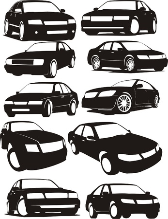 silhoette: set silhouette different  cars