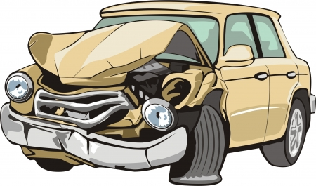 car crash: old car with crashed front