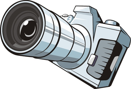 professional photo camera with big lens