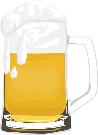spume: glass mug beer with spume Illustration