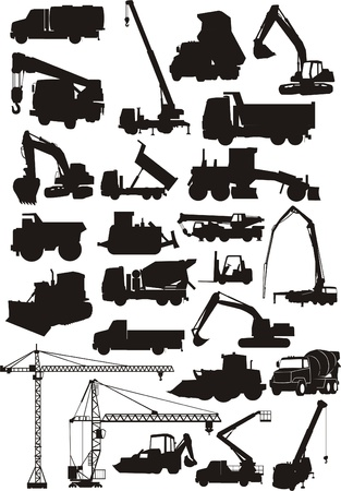 camion grua: un conjunto de máquinas de construcción silueta