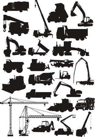 zestaw maszyn budowlanych sylwetka Ilustracje wektorowe