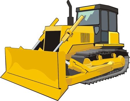 yellow tractor: amarilla oruga excavadora edificio Vectores