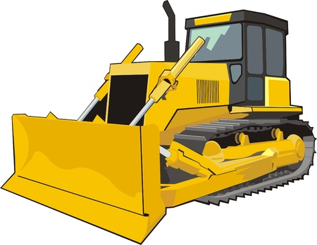 yellow caterpillar building bulldozer Vector