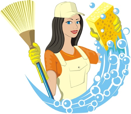 service occupation: girl keeps broom and soapy sponge
