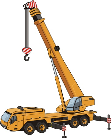 lifting tap with lifted by dart mobile heavy lifting crane Vector