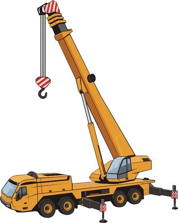 bouwkraan: tillen kraan met opgeheven door dart mobiele zware hijskraan Stock Illustratie
