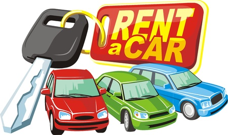 rent: three car on a key with keychain background