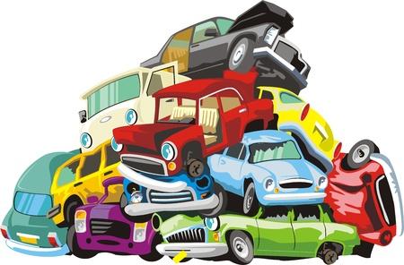 stelletje oude autowrakken