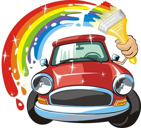 Car body repair and paint sign Stock Illustratie