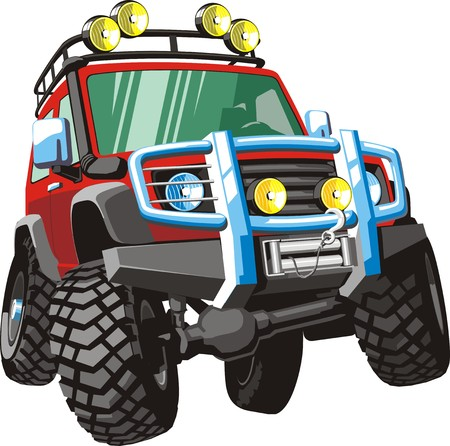 Four-wheel drive vehicle for heavy traffic conditions Illustration