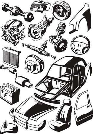 conjunto de unas piezas de automóviles diferentes