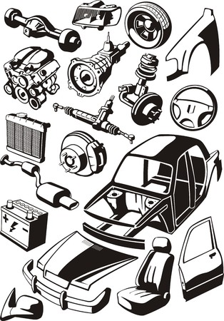 set of a different car parts Ilustrace