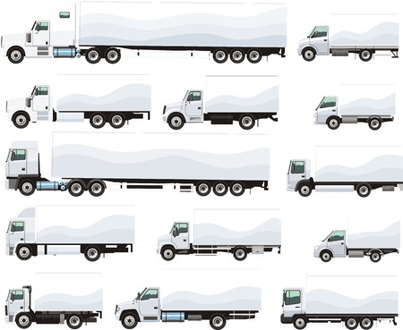 set of trucks for transportation of goods for different purposes