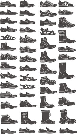 running shoe: set of a man shoe silhouettes Illustration