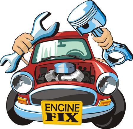 Auto mit Schraubenschlüssel und Kolben Standard-Bild - 25041136