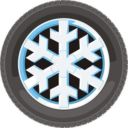 auto wiel met schijf in sneeuwvlokken ontwerp Stock Illustratie