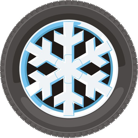 drift: car wheel with disc in snow flakes design Illustration