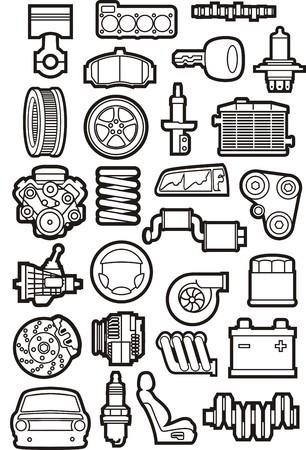 enchufe: un conjunto de curvas de nivel de partes de automóviles