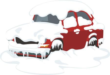 passenger car under the snow and ice  イラスト・ベクター素材