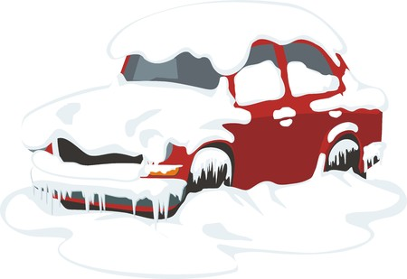 passenger car under the snow and ice Ilustrace