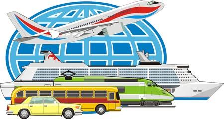 Transport Fahrgast mit allen Verkehrsmitteln Vektorgrafik