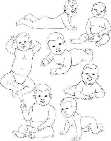 baby in miscellaneous position contour lines Stock Vector - 25041155