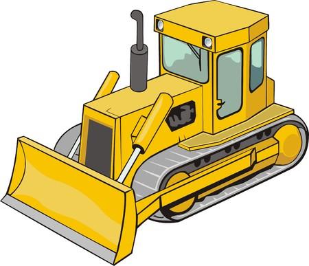 dredger: yellow caterpillar bulldozer