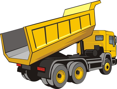 building dump truck for loose material Иллюстрация
