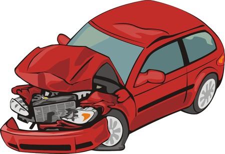 auto met crashte voorzijde