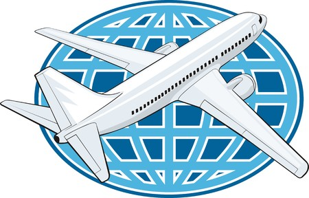 avia: airplane on a globe backcground Illustration