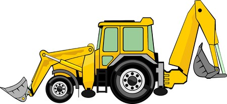 machinery: building excavatorand frontal loader on a wheel base Illustration