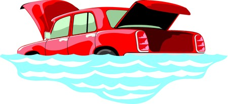 open car: car with opened hood and trunk flooded in the water