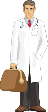 diagnosing: doctor keep a bag with medical accesories