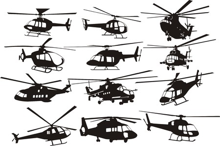 helicopter rescue: helicopter silhouettes set