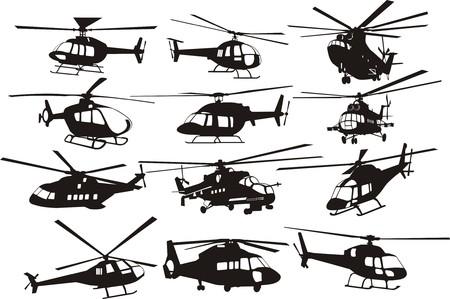 Hubschrauber Silhouetten