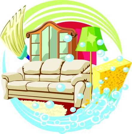 indoor home schoonmaak teken Stock Illustratie